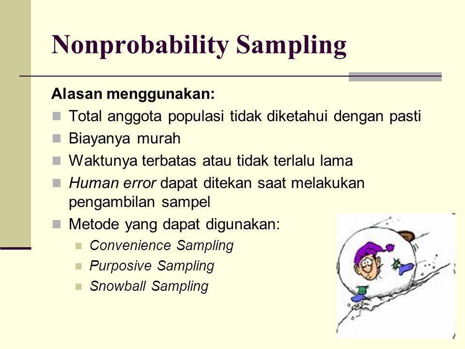 Nonprobability Sampling Alasan menggunakan: Total anggota populasi tidak diketahui dengan pasti Biayanya murah Waktunya terbatas atau tidak terlalu la