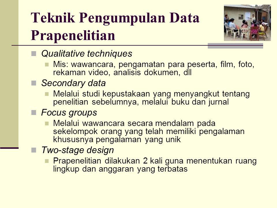 Teknik Pengumpulan Data Prapenelitian Qualitative techniques Mis: wawancara, pengamatan para peserta, film, foto, rekaman video, analisis dokumen, dll