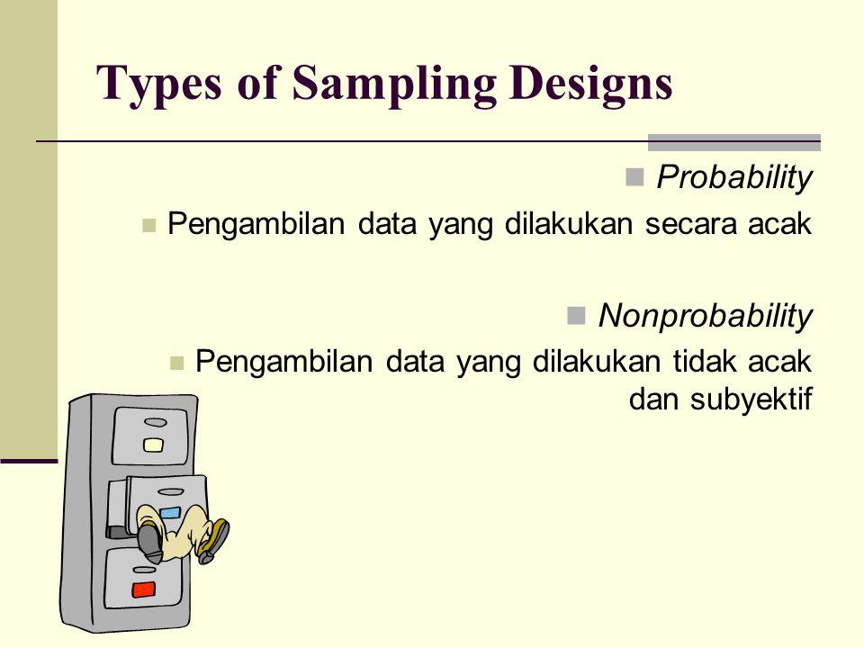 Types of Sampling Designs Probability Pengambilan data yang dilakukan secara acak Nonprobability Pengambilan data yang dilakukan tidak acak dan subyek