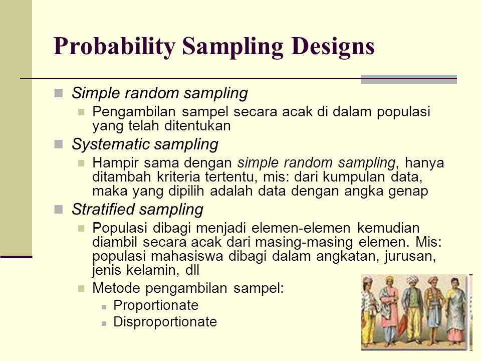 Probability Sampling Designs Simple random sampling Pengambilan sampel secara acak di dalam populasi yang telah ditentukan Systematic sampling Hampir