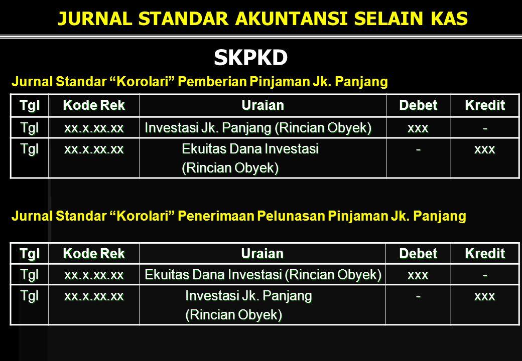 SKPKD Tgl Kode Rek UraianDebetKredit Tglxx.x.xx.xx Ekuitas Dana Investasi (Rincian Obyek) xxx- Tglxx.x.xx.xx Investasi Jk.