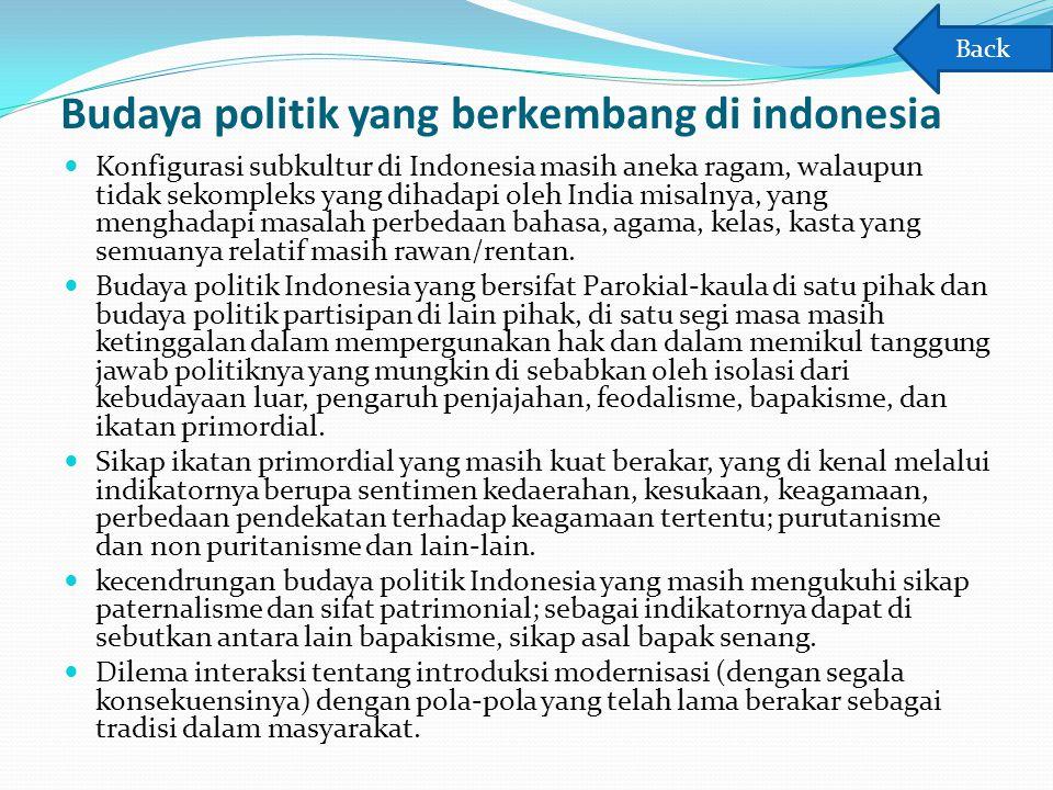 Budaya politik yang berkembang di indonesia Konfigurasi subkultur di Indonesia masih aneka ragam, walaupun tidak sekompleks yang dihadapi oleh India m