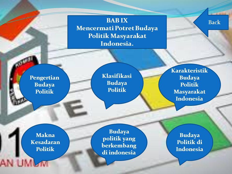BAB IX Mencermati Potret Budaya Politik Masyarakat Indonesia. Pengertian Budaya Politik Makna Kesadaran Politik Budaya politik yang berkembang di indo