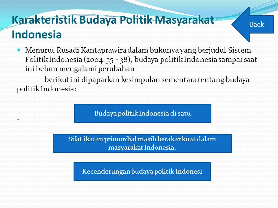 Karakteristik Budaya Politik Masyarakat Indonesia Menurut Rusadi Kantaprawira dalam bukunya yang berjudul Sistem Politik Indonesia (2004: 35 - 38), bu