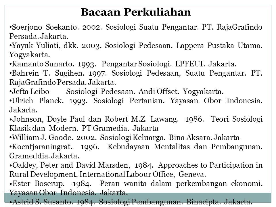 Bacaan Perkuliahan Soerjono Soekanto.2002. Sosiologi Suatu Pengantar.