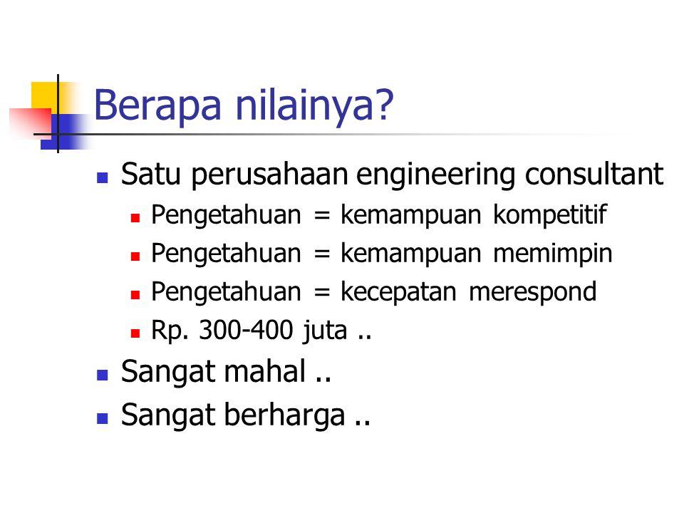 Berapa nilainya? Satu perusahaan engineering consultant Pengetahuan = kemampuan kompetitif Pengetahuan = kemampuan memimpin Pengetahuan = kecepatan me