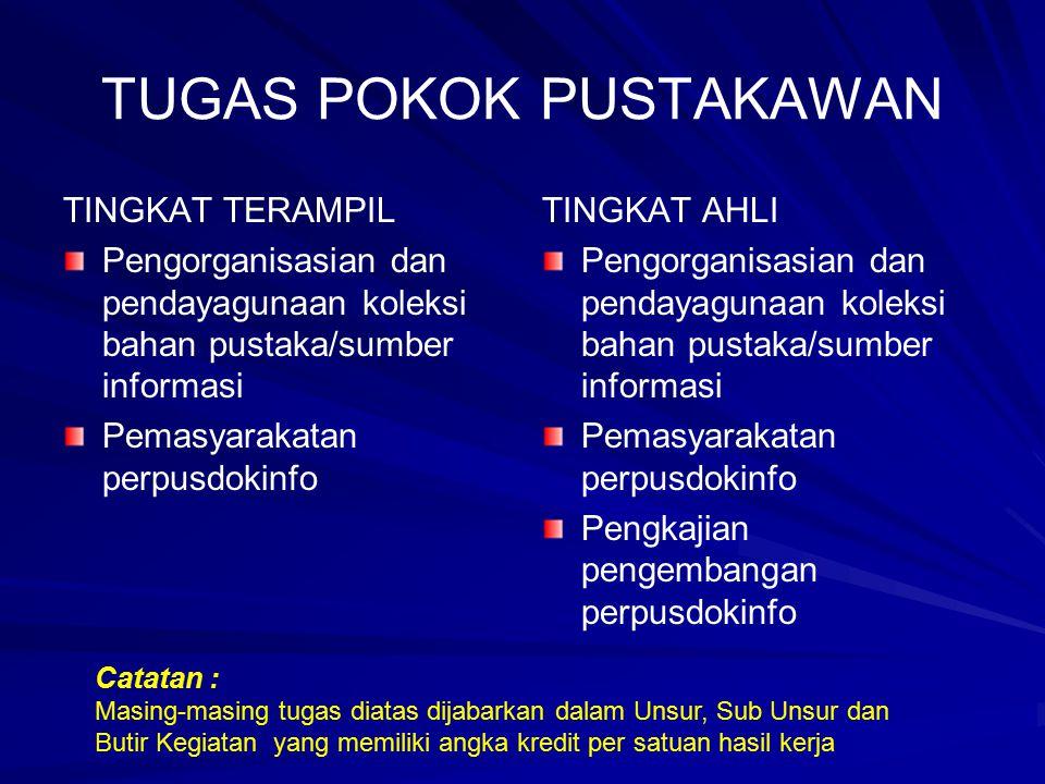 TUGAS POKOK PUSTAKAWAN TINGKAT TERAMPIL Pengorganisasian dan pendayagunaan koleksi bahan pustaka/sumber informasi Pemasyarakatan perpusdokinfo TINGKAT