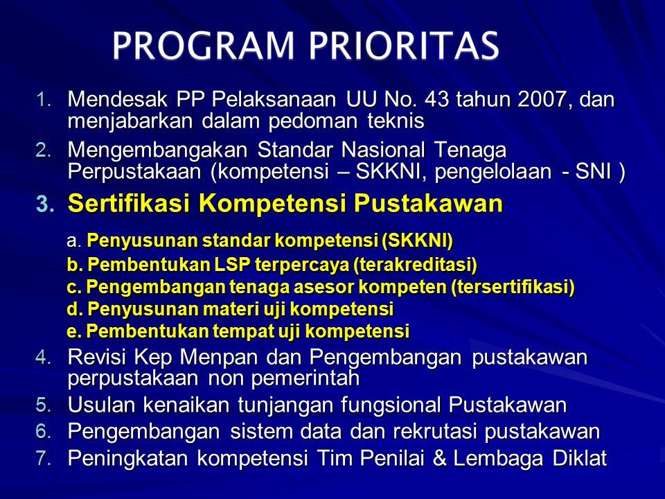 1. Mendesak PP Pelaksanaan UU No. 43 tahun 2007, dan menjabarkan dalam pedoman teknis 2. Mengembangakan Standar Nasional Tenaga Perpustakaan (kompeten