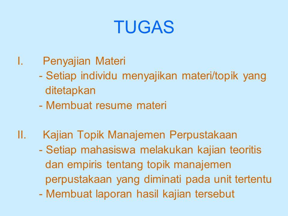 TUGAS I.Penyajian Materi - Setiap individu menyajikan materi/topik yang ditetapkan - Membuat resume materi II.Kajian Topik Manajemen Perpustakaan - Se