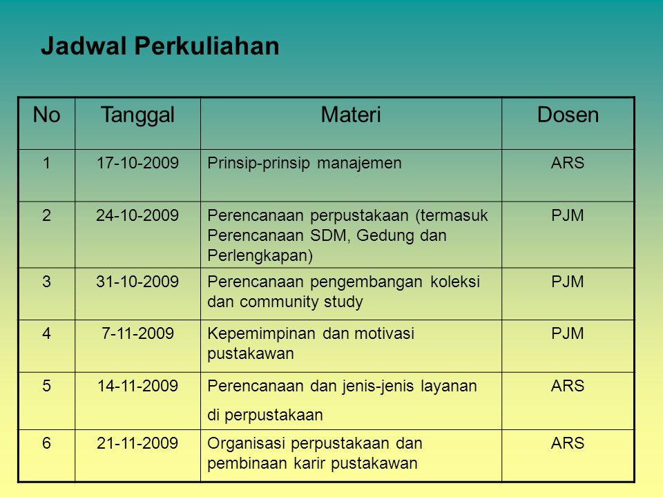 Jadwal Perkuliahan NoTanggalMateriDosen 117-10-2009Prinsip-prinsip manajemenARS 224-10-2009Perencanaan perpustakaan (termasuk Perencanaan SDM, Gedung