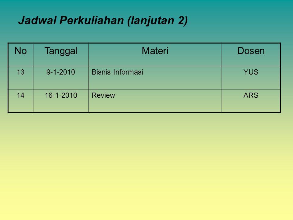 Jadwal Perkuliahan (lanjutan 2) NoTanggalMateriDosen 139-1-2010Bisnis InformasiYUS 1416-1-2010ReviewARS