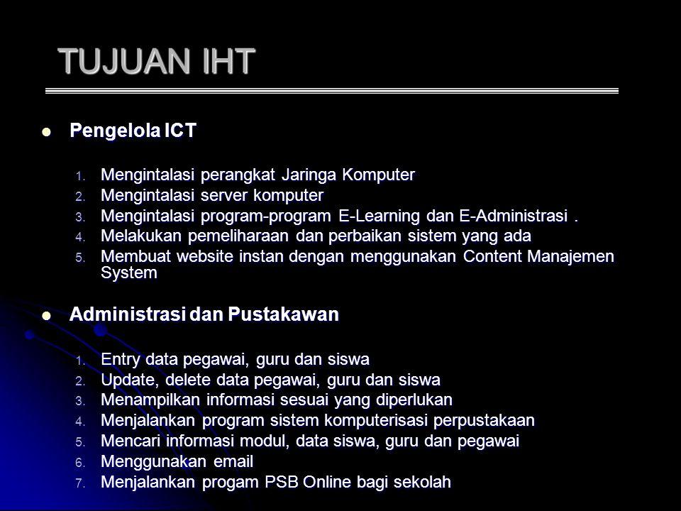 TUJUAN IHT Pengelola ICT Pengelola ICT 1.Mengintalasi perangkat Jaringa Komputer 2.