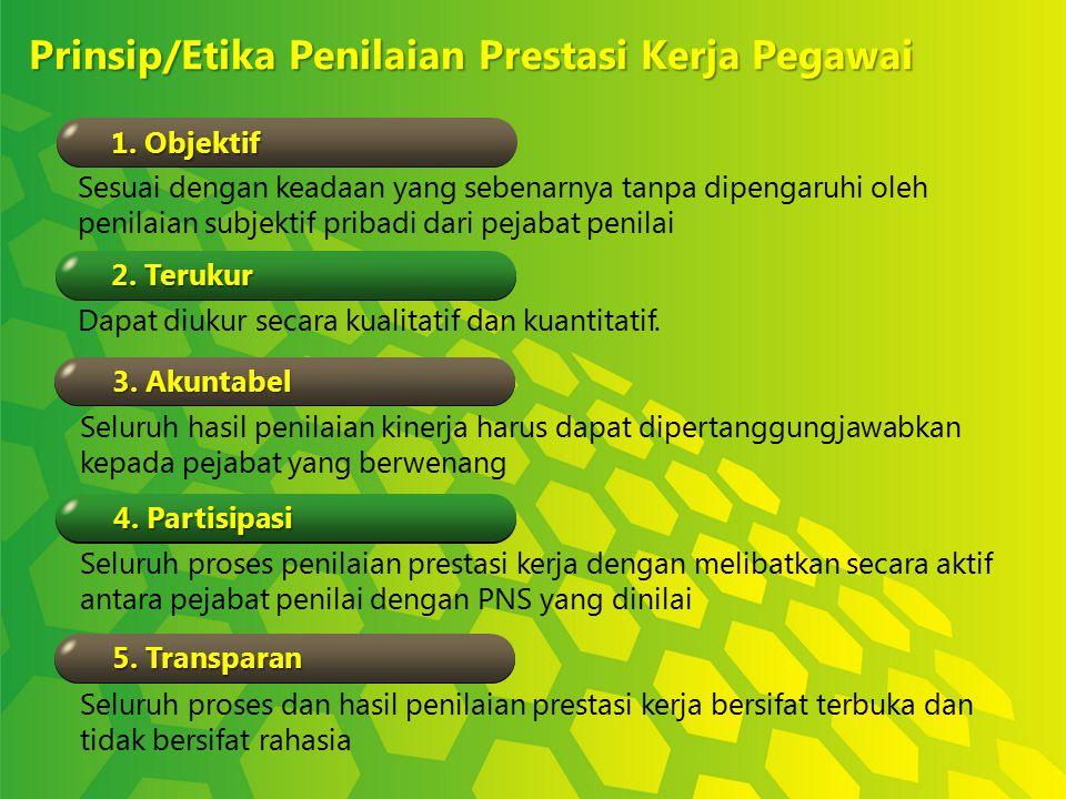 Prinsip/Etika Penilaian Prestasi Kerja Pegawai 1. Objektif 2. Terukur 3. Akuntabel 4. Partisipasi 5. Transparan Sesuai dengan keadaan yang sebenarnya