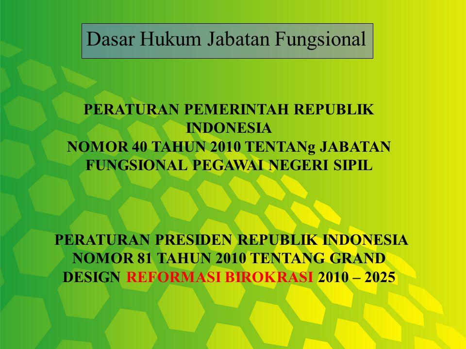 PERATURAN PEMERINTAH REPUBLIK INDONESIA NOMOR 40 TAHUN 2010 TENTANg JABATAN FUNGSIONAL PEGAWAI NEGERI SIPIL PERATURAN PRESIDEN REPUBLIK INDONESIA NOMO
