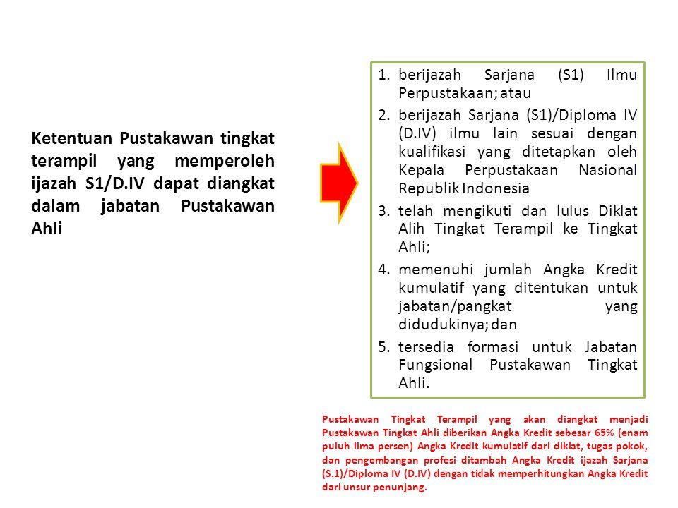 Ketentuan Pustakawan tingkat terampil yang memperoleh ijazah S1/D.IV dapat diangkat dalam jabatan Pustakawan Ahli 1.berijazah Sarjana (S1) Ilmu Perpustakaan; atau 2.berijazah Sarjana (S1)/Diploma IV (D.IV) ilmu lain sesuai dengan kualifikasi yang ditetapkan oleh Kepala Perpustakaan Nasional Republik Indonesia 3.telah mengikuti dan lulus Diklat Alih Tingkat Terampil ke Tingkat Ahli; 4.memenuhi jumlah Angka Kredit kumulatif yang ditentukan untuk jabatan/pangkat yang didudukinya; dan 5.tersedia formasi untuk Jabatan Fungsional Pustakawan Tingkat Ahli.