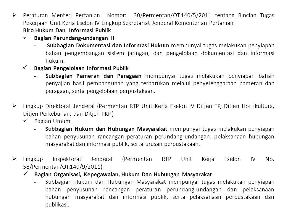  Peraturan Menteri Pertanian Nomor: 30/Permentan/OT.140/5/2011 tentang Rincian Tugas Pekerjaan Unit Kerja Eselon IV Lingkup Sekretariat Jenderal Keme