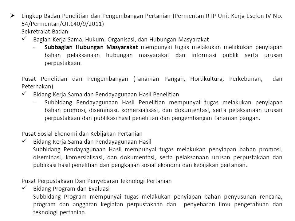  Lingkup Badan Penelitian dan Pengembangan Pertanian (Permentan RTP Unit Kerja Eselon IV No. 54/Permentan/OT.140/9/2011) Sekretraiat Badan Bagian Ker