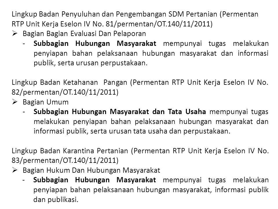 Lingkup Badan Penyuluhan dan Pengembangan SDM Pertanian (Permentan RTP Unit Kerja Eselon IV No. 81/permentan/OT.140/11/2011)  Bagian Bagian Evaluasi