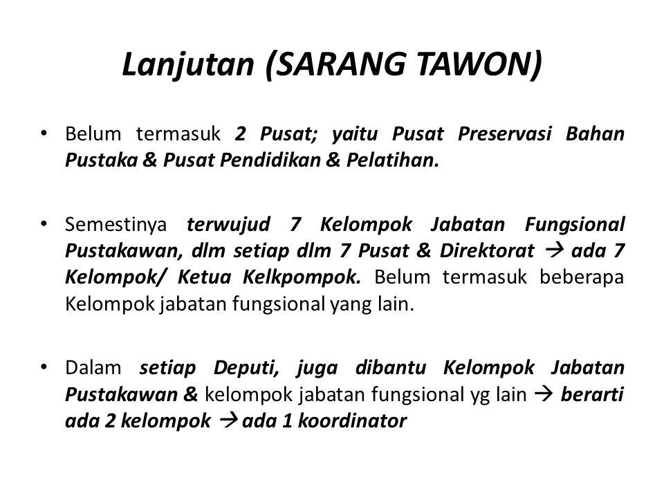 Lanjutan (SARANG TAWON) Belum termasuk 2 Pusat; yaitu Pusat Preservasi Bahan Pustaka & Pusat Pendidikan & Pelatihan. Semestinya terwujud 7 Kelompok Ja