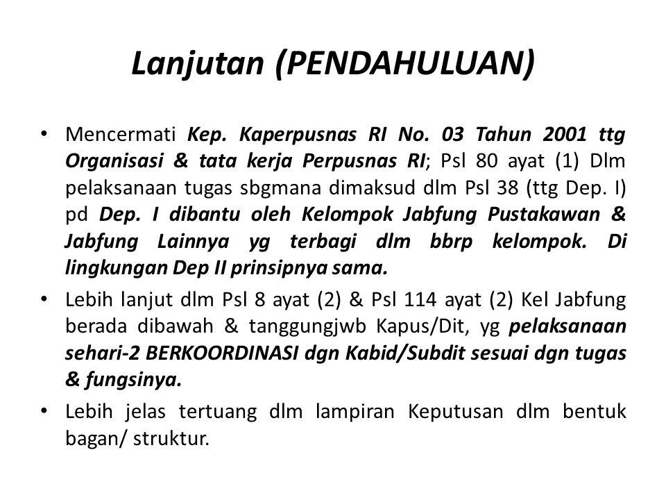 Lanjutan (PENDAHULUAN) Mencermati Kep. Kaperpusnas RI No. 03 Tahun 2001 ttg Organisasi & tata kerja Perpusnas RI; Psl 80 ayat (1) Dlm pelaksanaan tuga