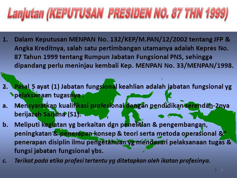 9 1.Dalam Keputusan MENPAN No. 132/KEP/M.PAN/12/2002 tentang JFP & Angka Kreditnya, salah satu pertimbangan utamanya adalah Kepres No. 87 Tahun 1999 t