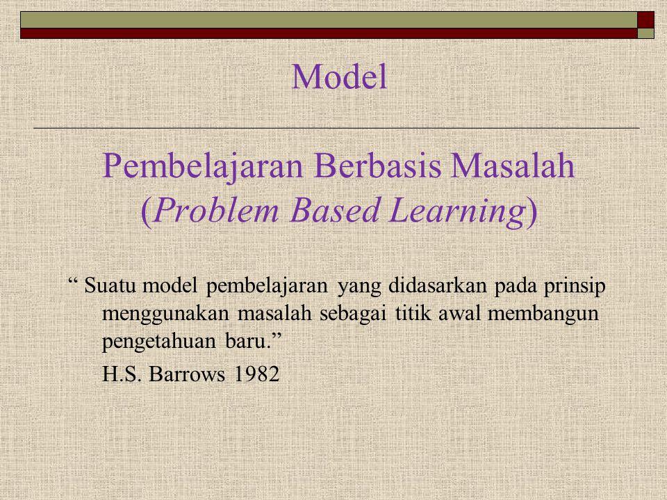 """Model Pembelajaran Berbasis Masalah (Problem Based Learning) """" Suatu model pembelajaran yang didasarkan pada prinsip menggunakan masalah sebagai titik"""