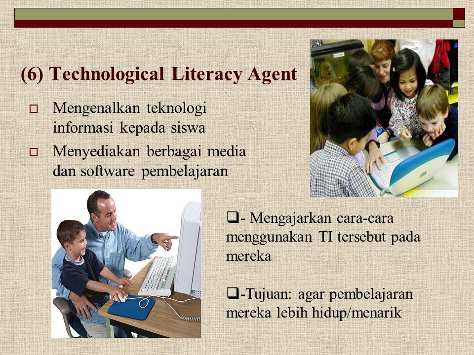 (6) Technological Literacy Agent  Mengenalkan teknologi informasi kepada siswa  Menyediakan berbagai media dan software pembelajaran  - Mengajarkan