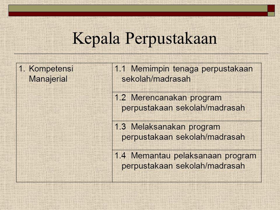 1.Kompetensi Manajerial 1.1 Memimpin tenaga perpustakaan sekolah/madrasah 1.2 Merencanakan program perpustakaan sekolah/madrasah 1.3 Melaksanakan prog