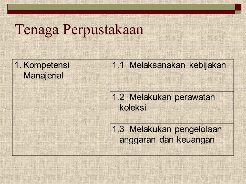 Tenaga Perpustakaan 1.Kompetensi Manajerial 1.1 Melaksanakan kebijakan 1.2 Melakukan perawatan koleksi 1.3 Melakukan pengelolaan anggaran dan keuangan