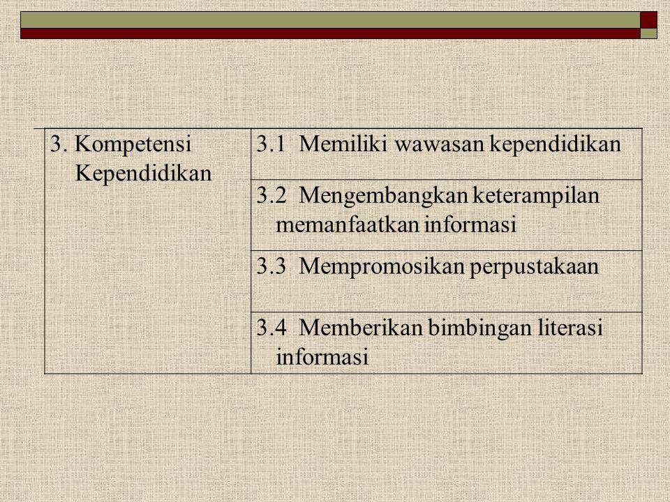 3. Kompetensi Kependidikan 3.1 Memiliki wawasan kependidikan 3.2 Mengembangkan keterampilan memanfaatkan informasi 3.3 Mempromosikan perpustakaan 3.4