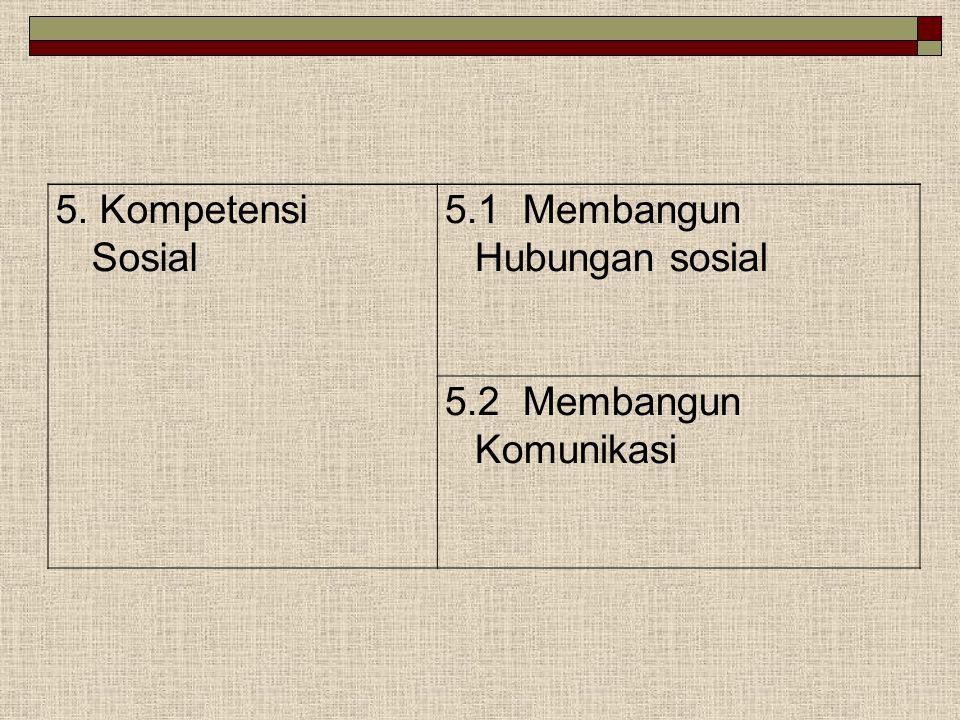 5. Kompetensi Sosial 5.1 Membangun Hubungan sosial 5.2 Membangun Komunikasi