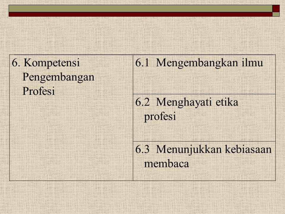 6. Kompetensi Pengembangan Profesi 6.1 Mengembangkan ilmu 6.2 Menghayati etika profesi 6.3 Menunjukkan kebiasaan membaca