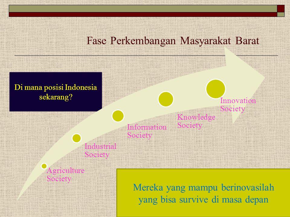 Di mana posisi Indonesia sekarang? Fase Perkembangan Masyarakat Barat Agriculture Society Industrial Society Information Society Knowledge Society Inn