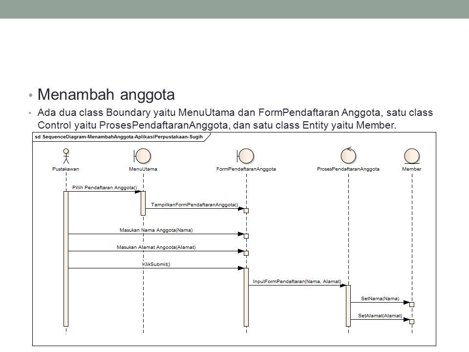 Menambah anggota Ada dua class Boundary yaitu MenuUtama dan FormPendaftaran Anggota, satu class Control yaitu ProsesPendaftaranAnggota, dan satu class Entity yaitu Member.