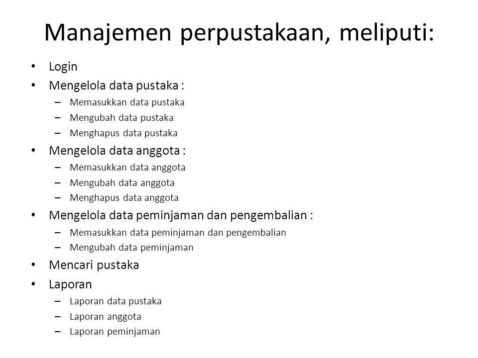 Manajemen perpustakaan, meliputi: Login Mengelola data pustaka : – Memasukkan data pustaka – Mengubah data pustaka – Menghapus data pustaka Mengelola
