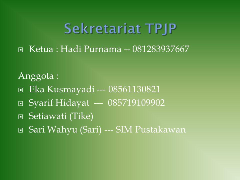  Ketua : Hadi Purnama -- 081283937667 Anggota :  Eka Kusmayadi --- 08561130821  Syarif Hidayat --- 085719109902  Setiawati (Tike)  Sari Wahyu (Sa