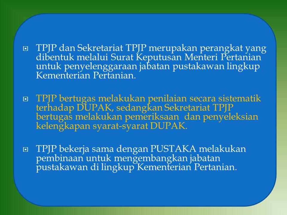  TPJP dan Sekretariat TPJP merupakan perangkat yang dibentuk melalui Surat Keputusan Menteri Pertanian untuk penyelenggaraan jabatan pustakawan lingk