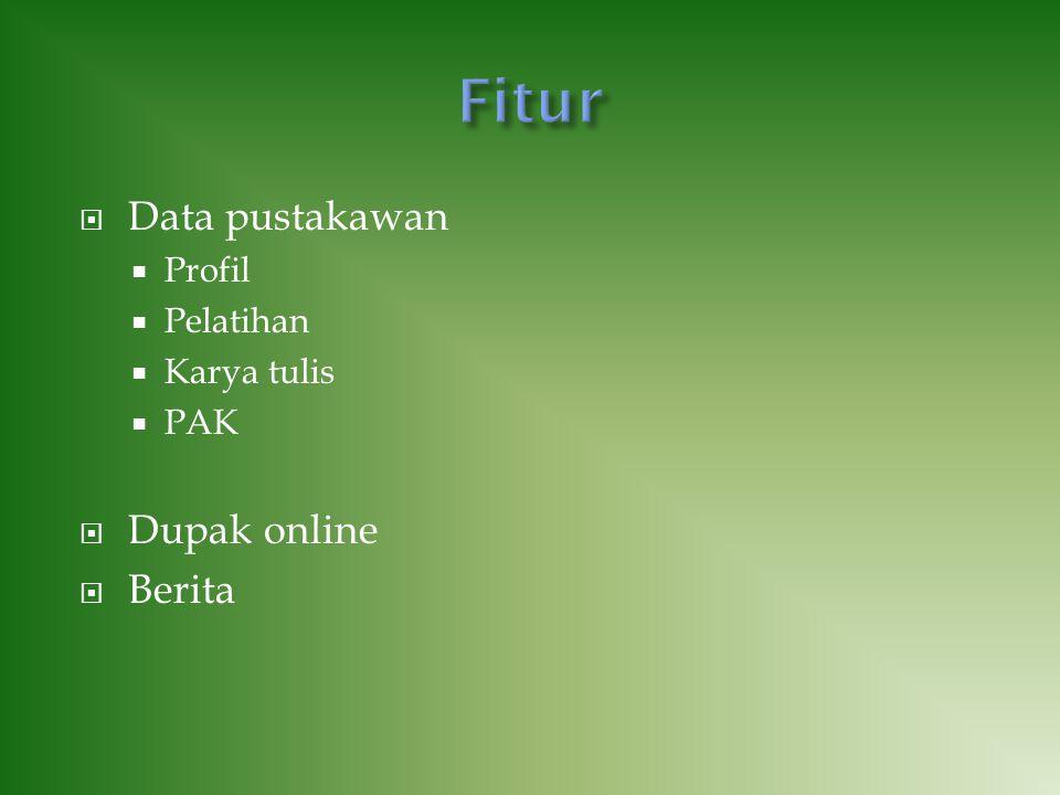  Data pustakawan  Profil  Pelatihan  Karya tulis  PAK  Dupak online  Berita