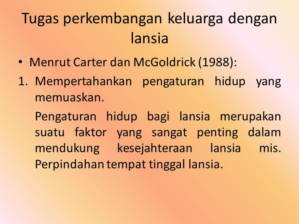 Tugas perkembangan keluarga dengan lansia Menrut Carter dan McGoldrick (1988): 1.Mempertahankan pengaturan hidup yang memuaskan. Pengaturan hidup bagi