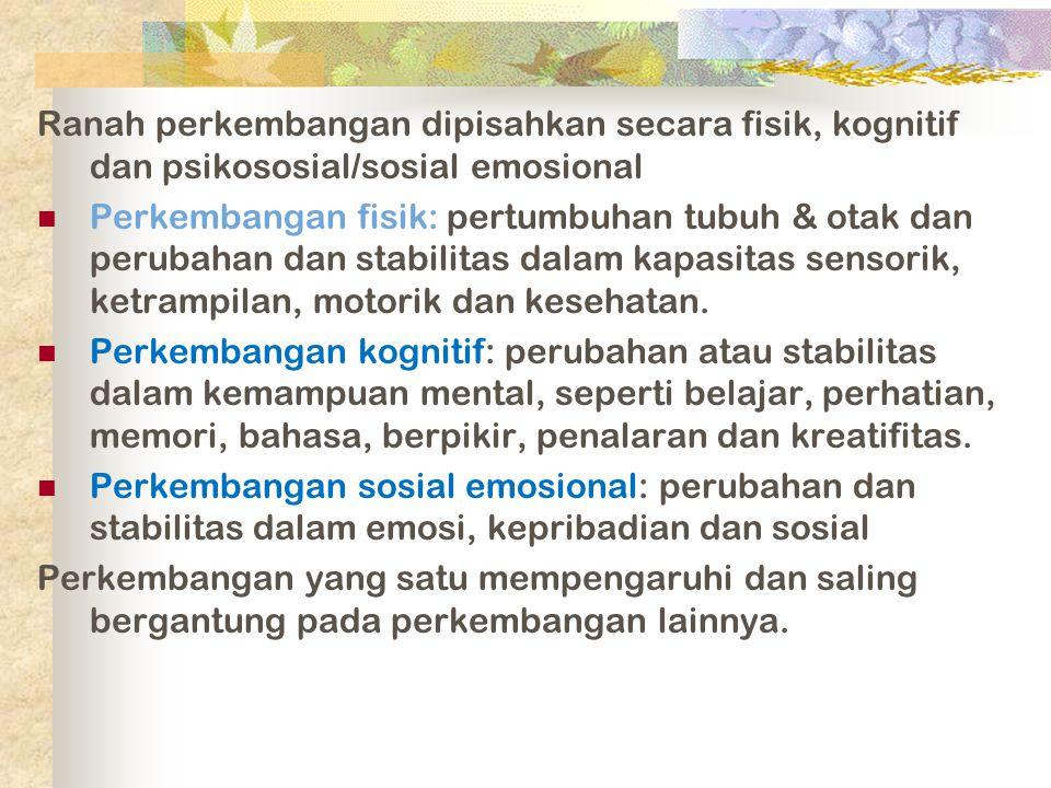 Dimensi-dimensi Perkembangan Biological processes Perubahan fisik individu Cognitive processes Perubahan kemampuan berpikir individu, inteligensi, dan bahasa Socioemotioal processes Perubahan relasi individu dengan orang lain, perubahan emosi, dan perubahan kepribadian