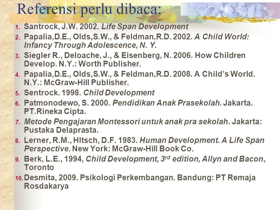 Referensi perlu dibaca: 1.Santrock, J.W. 2002. Life Span Development 2.