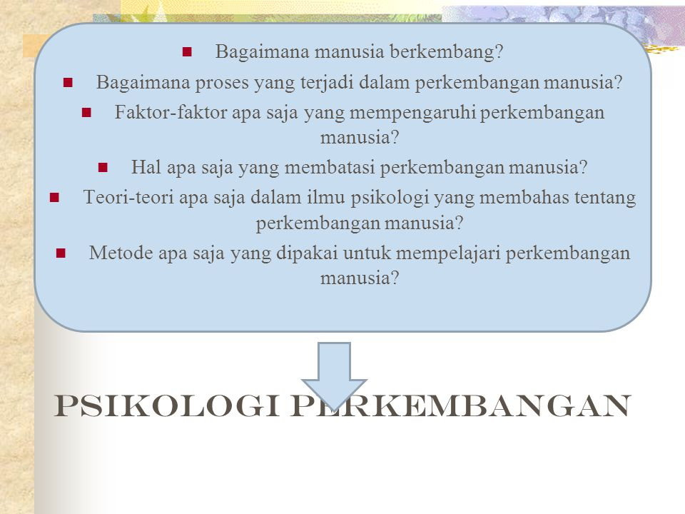 Tujuan Psikologi Perkembangan (Hurlock, 1980) 1.