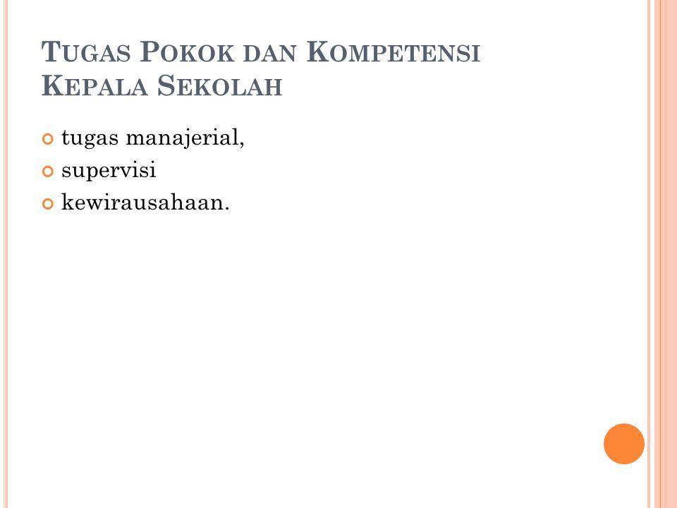 T UGAS P OKOK DAN K OMPETENSI K EPALA S EKOLAH tugas manajerial, supervisi kewirausahaan.