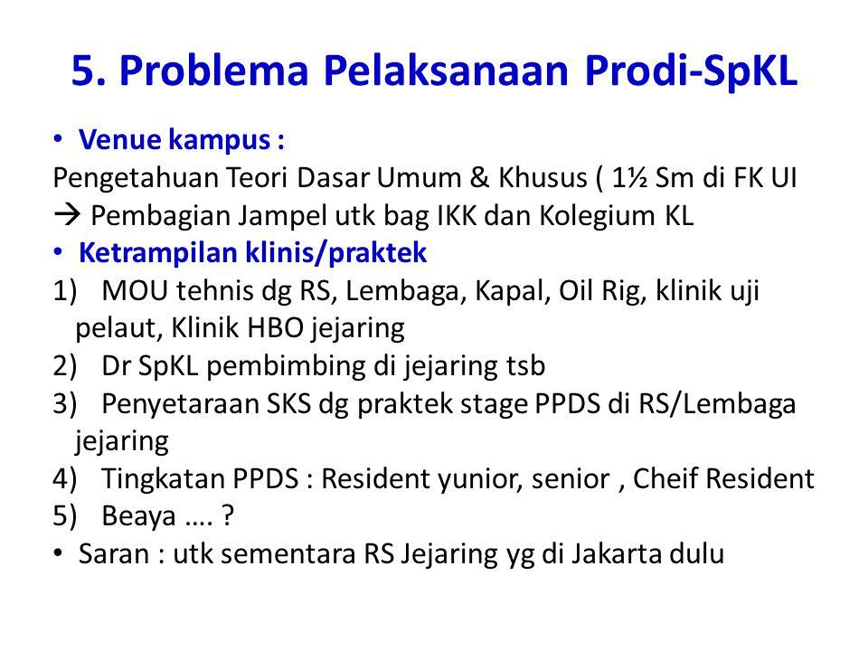 5. Problema Pelaksanaan Prodi-SpKL Venue kampus : Pengetahuan Teori Dasar Umum & Khusus ( 1½ Sm di FK UI  Pembagian Jampel utk bag IKK dan Kolegium K