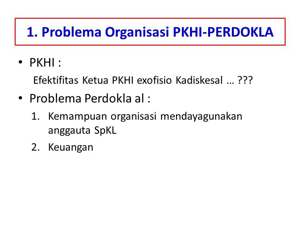 1. Problema Organisasi PKHI-PERDOKLA PKHI : Efektifitas Ketua PKHI exofisio Kadiskesal … ??? Problema Perdokla al : 1.Kemampuan organisasi mendayaguna