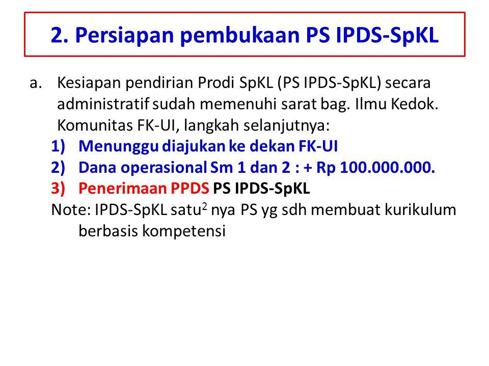 2. Persiapan pembukaan PS IPDS-SpKL a.Kesiapan pendirian Prodi SpKL (PS IPDS-SpKL) secara administratif sudah memenuhi sarat bag. Ilmu Kedok. Komunita
