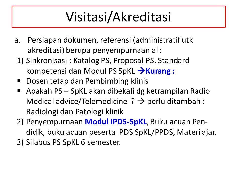 Visitasi/Akreditasi a.Persiapan dokumen, referensi (administratif utk akreditasi) berupa penyempurnaan al : 1)Sinkronisasi : Katalog PS, Proposal PS,