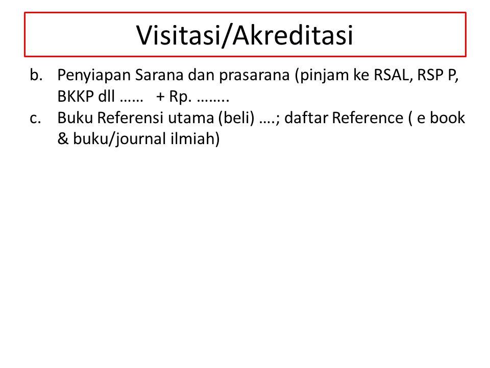 Visitasi/Akreditasi b.Penyiapan Sarana dan prasarana (pinjam ke RSAL, RSP P, BKKP dll …… + Rp. …….. c.Buku Referensi utama (beli) ….; daftar Reference