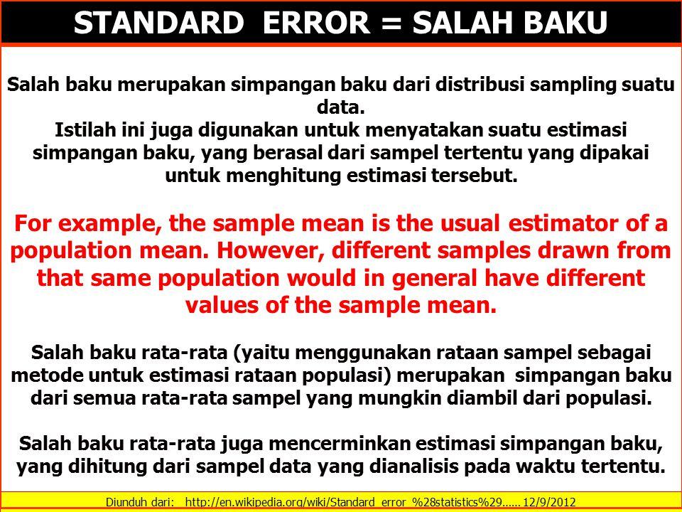 Diunduh dari: http://en.wikipedia.org/wiki/Standard_error_%28statistics%29…… 12/9/2012 STANDARD ERROR = SALAH BAKU Salah baku merupakan simpangan baku dari distribusi sampling suatu data.