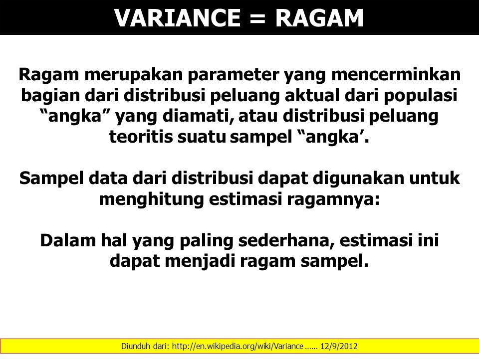 Diunduh dari: http://en.wikipedia.org/wiki/Variance …… 12/9/2012 VARIANCE = RAGAM Ragam merupakan parameter yang mencerminkan bagian dari distribusi peluang aktual dari populasi angka yang diamati, atau distribusi peluang teoritis suatu sampel angka'.